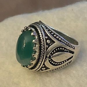 Other - 3/$25 Size 10 Lucky Horseshoe Agate Green Ring